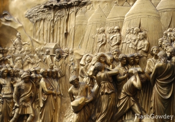 Detail of Ghiberti's Gates of Paradise, Florence, Italy (October 2008)