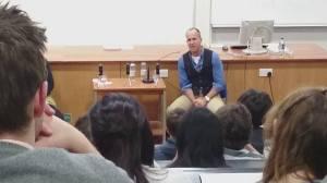 Peter Greste speaking to Cardiff University JOMEC students on 20 February 2015
