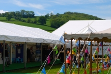 View from the centre of the festival tents to the pastures above.