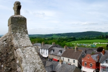 View from the top of the damaged section of the Hay Castle looking out over the town and to fields beyond.
